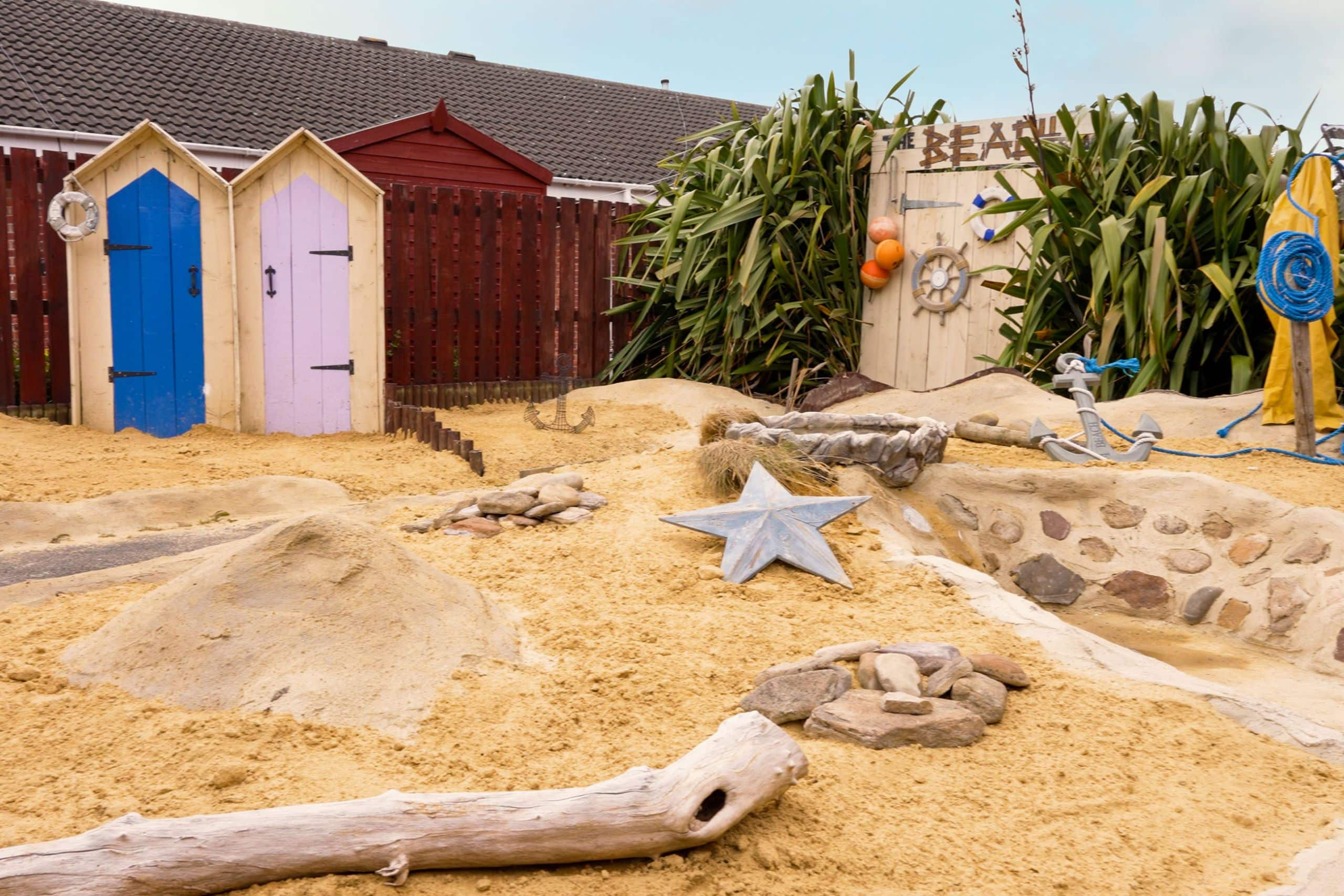 The beach feature in the garden of Appleby Care Home in North Shields.