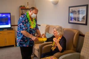Resident and carer at Dove Court Care Home in Wisbech.