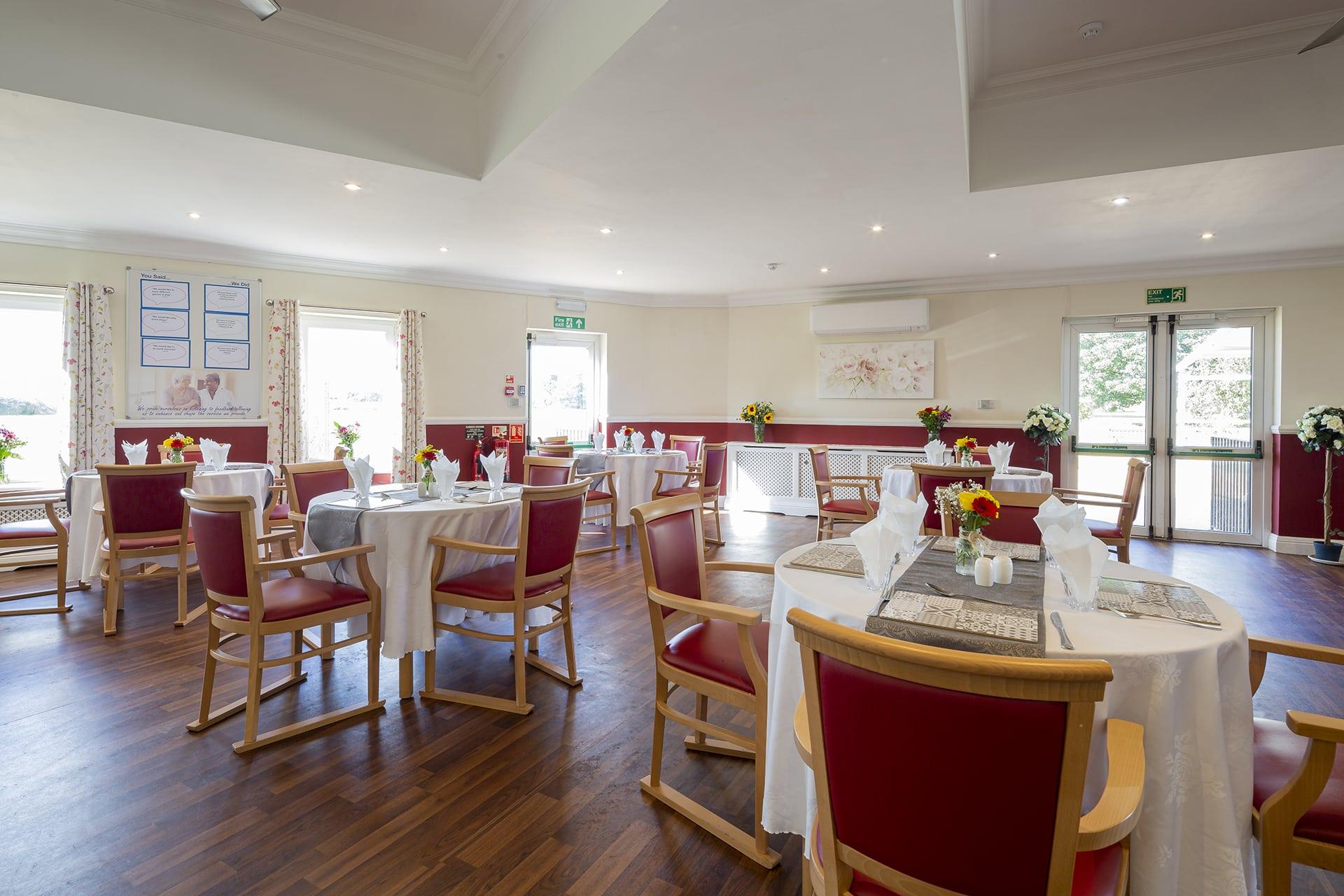 Stambridge Meadows Care Home dining room