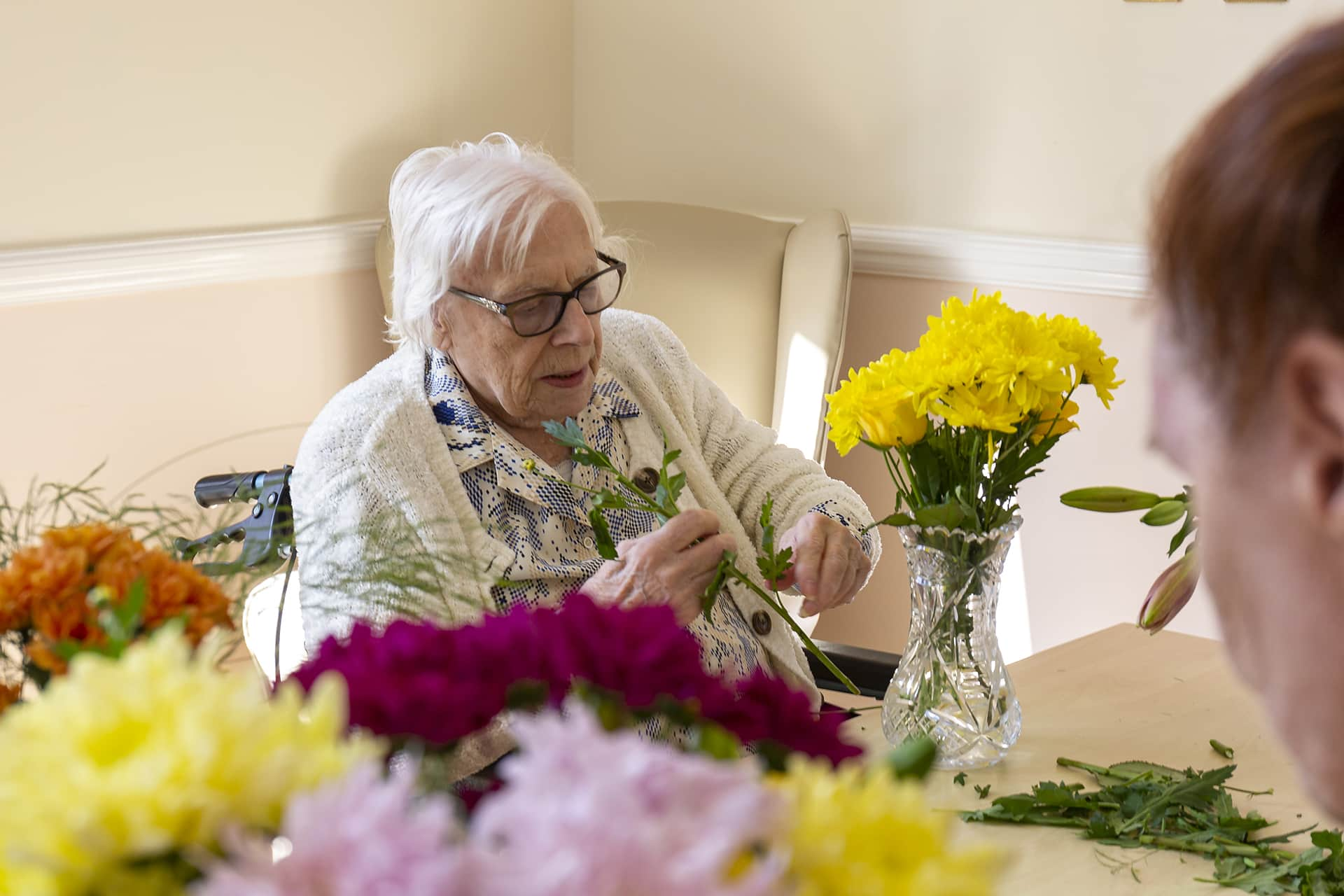 Stambridge Meadows Care Home flower arranging activity