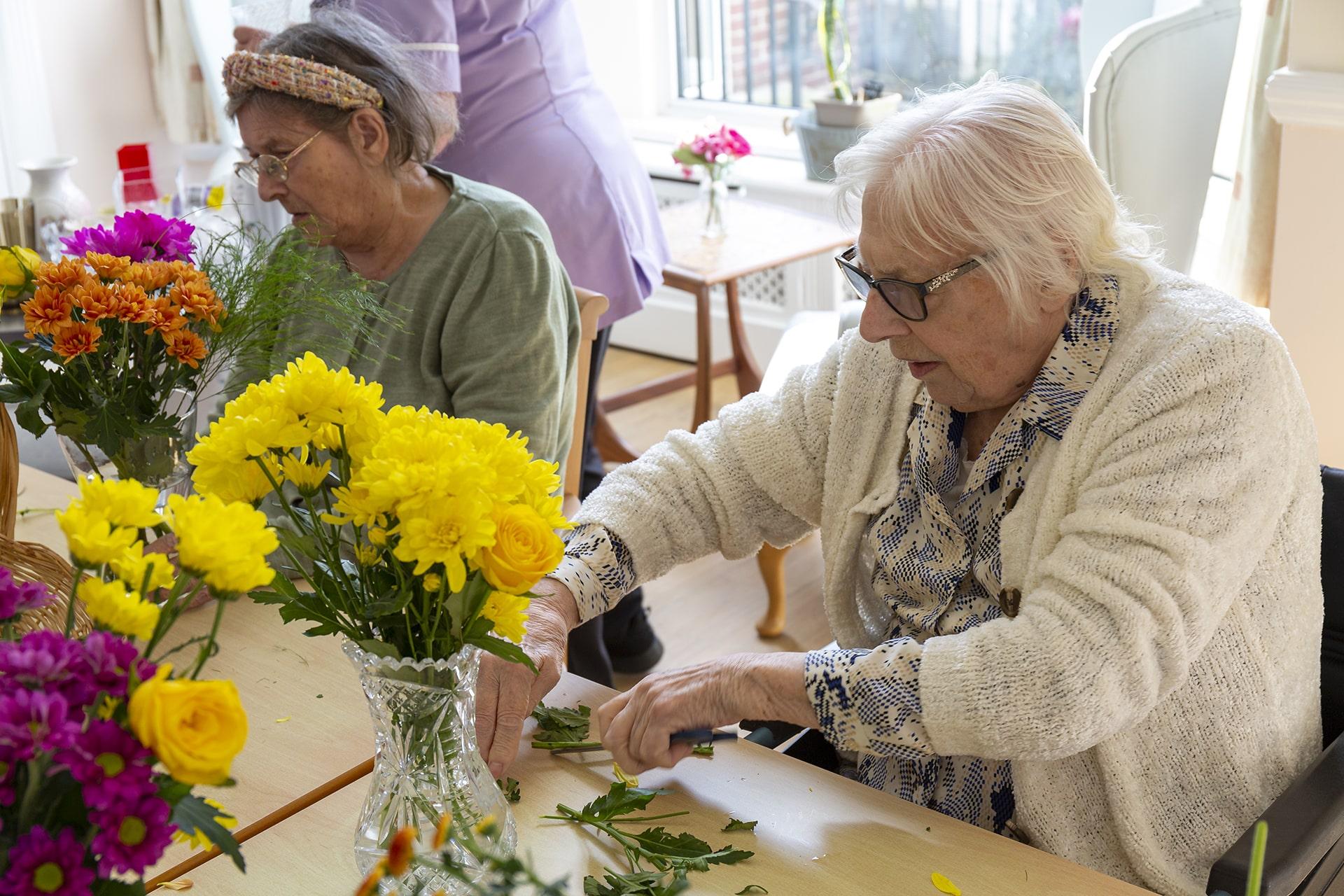 Stambridge Meadows Care Home flower arranging activity 2