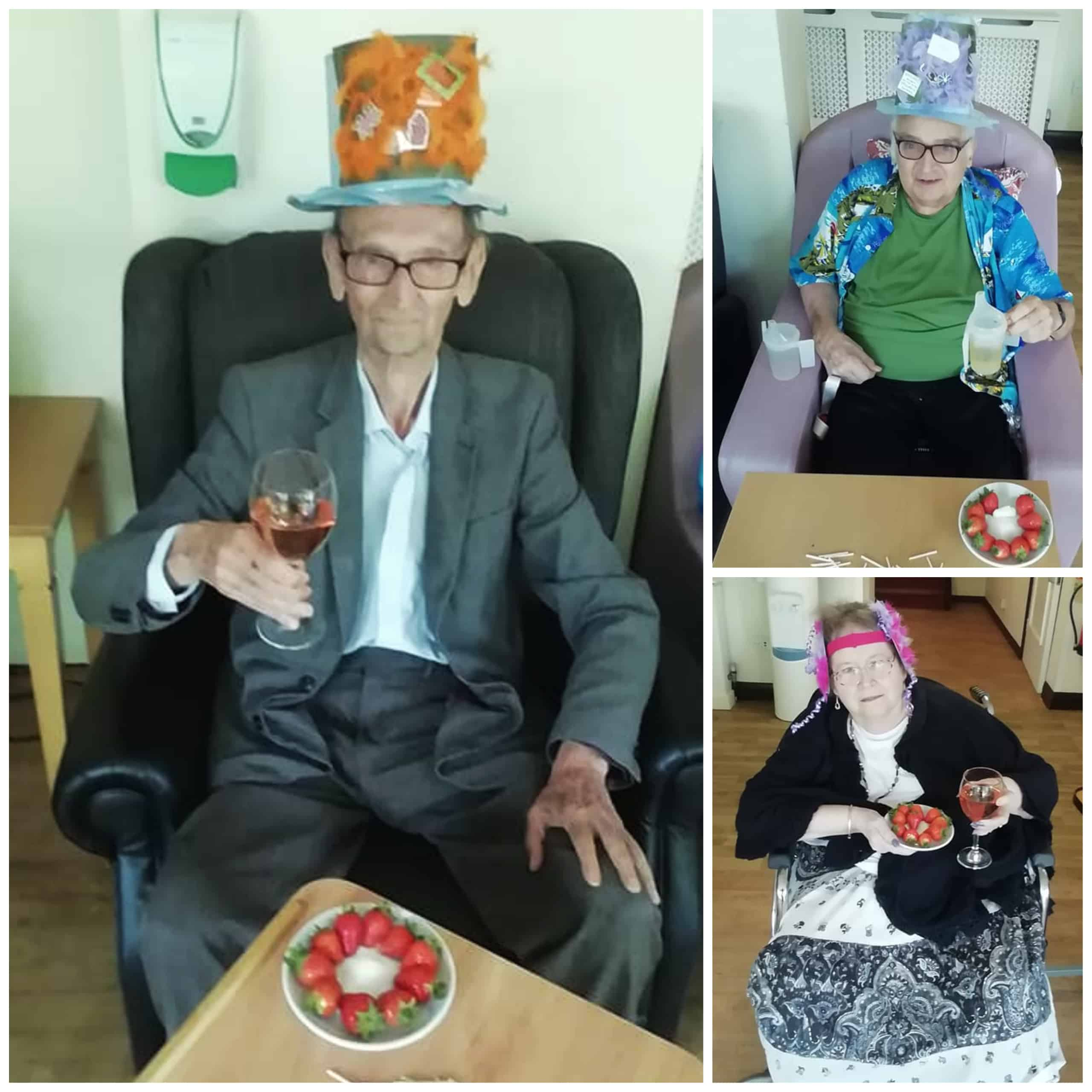 Residents at Highfield Care Home in Bekesbourne, Canterbury, show off their homemade hats and fascinators for their Royal Ascot celebration.