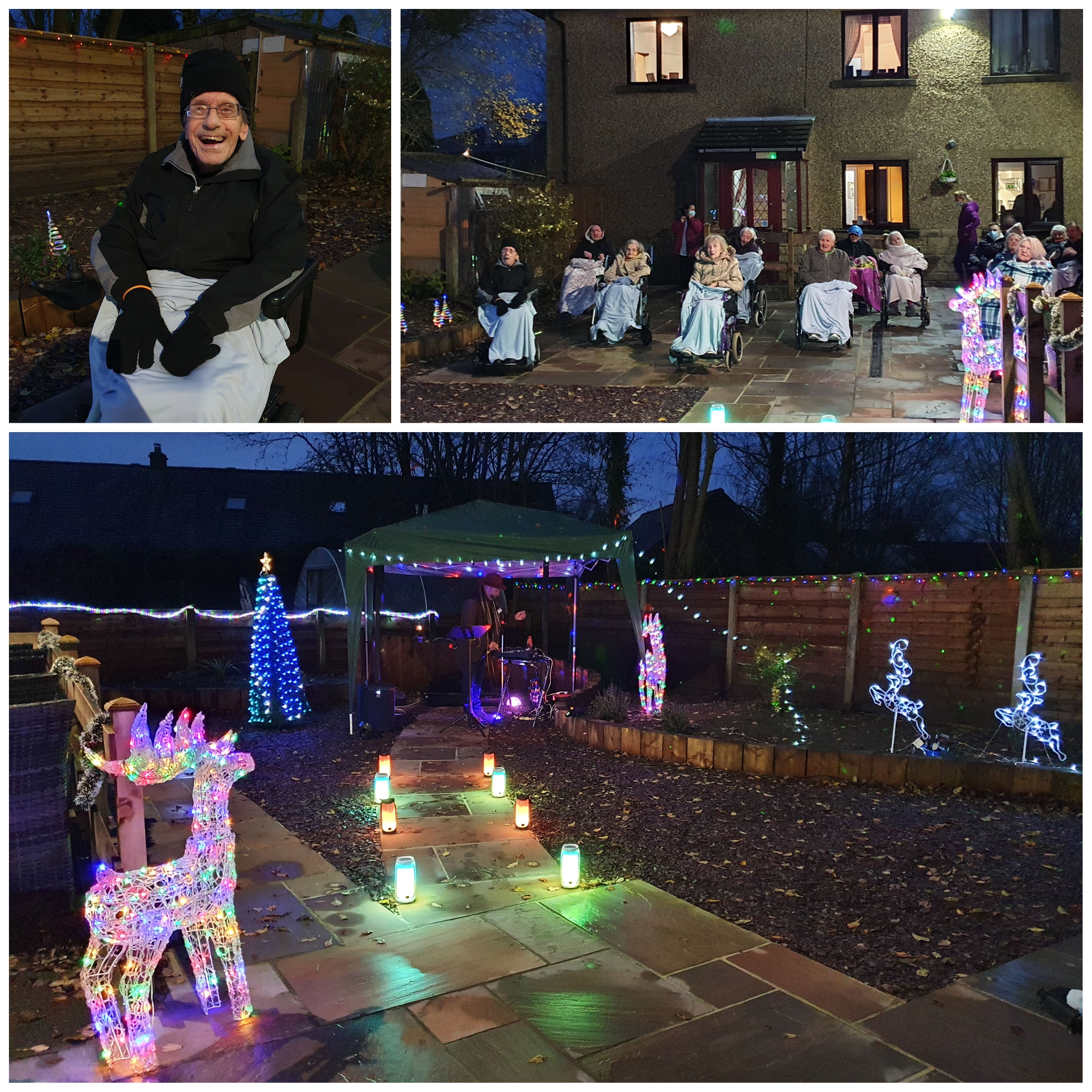 Hope House Care Home residents in Clayton-le-Moors near Accrington enjoy their Christmas light display in the home's garden.
