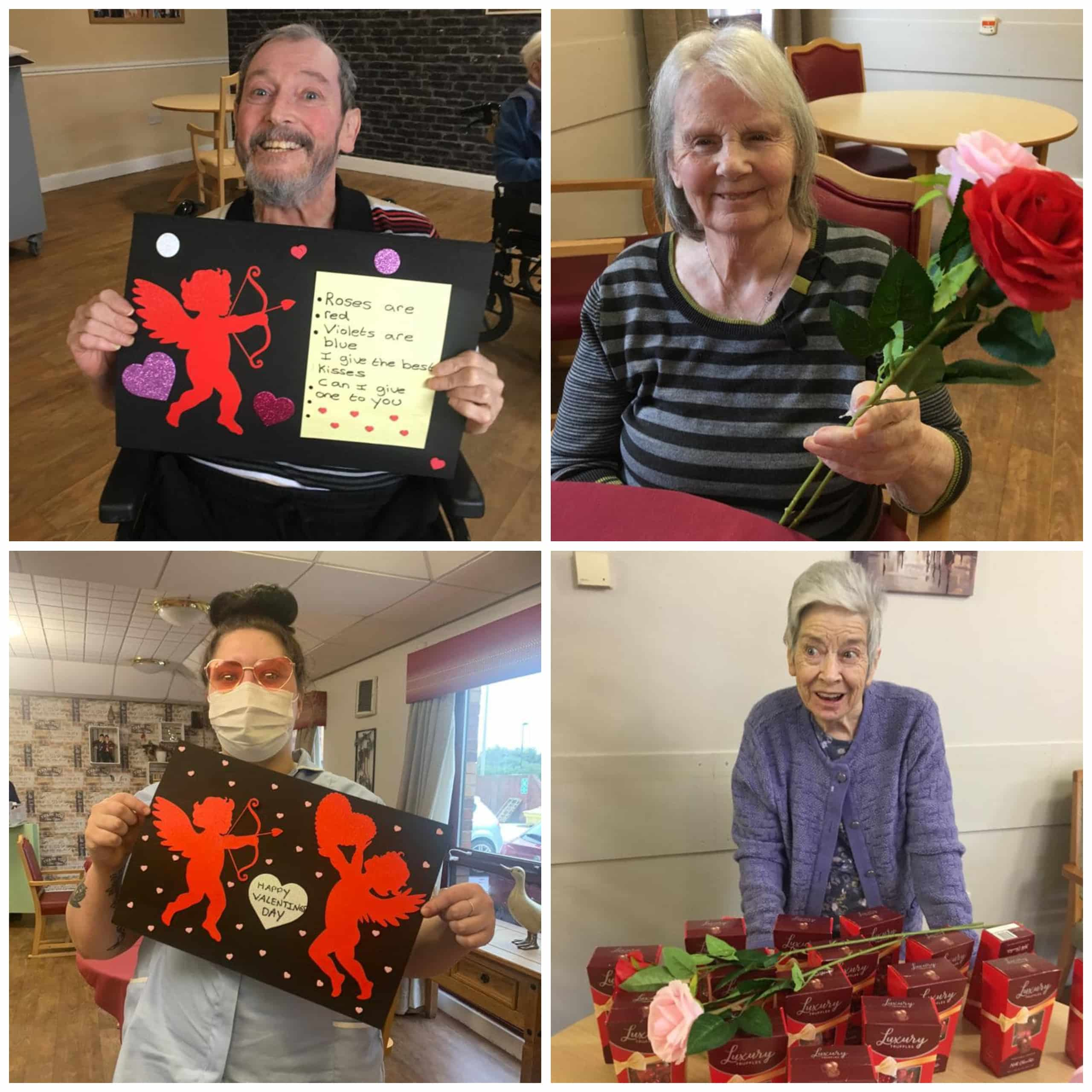 Residents at North Shield-based care home Appleby with their Valentine's Day crafts, chocolates and flowers.