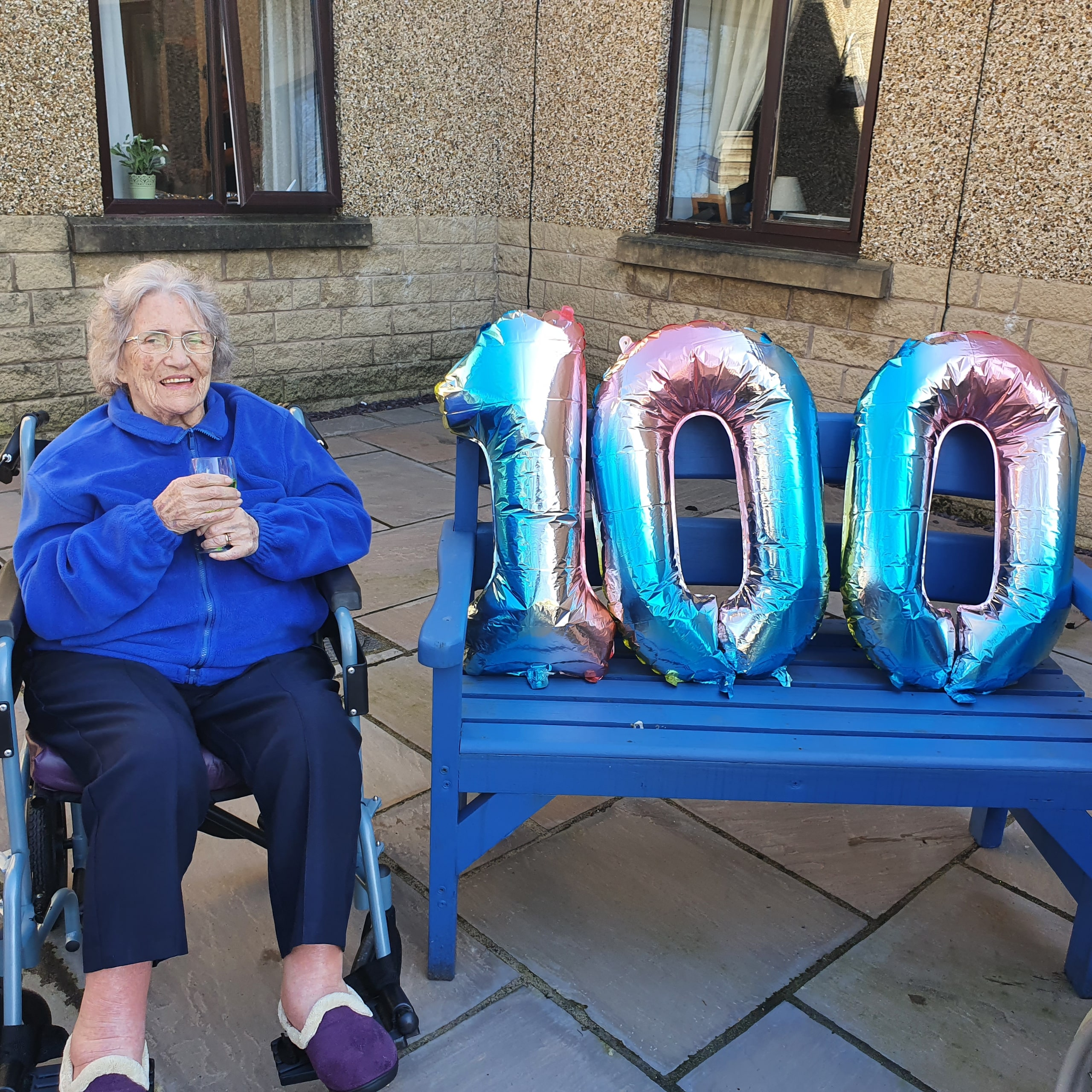 Accrington care home resident Evelyn Corris celebrating her 100th birthday at Hope House.