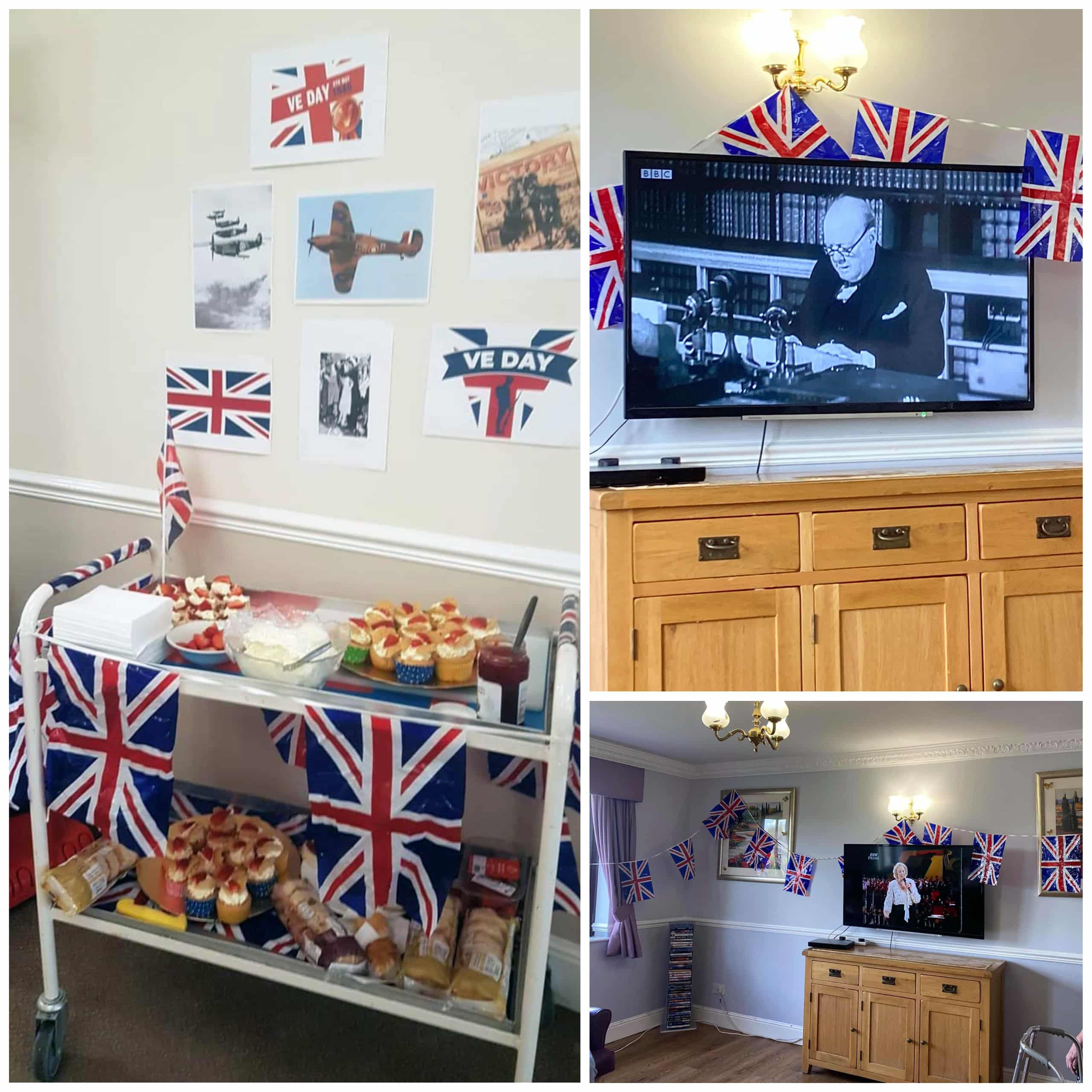 Union Jack decorations and afternoon tea during Briar House Care Home's VE Day celebrations.