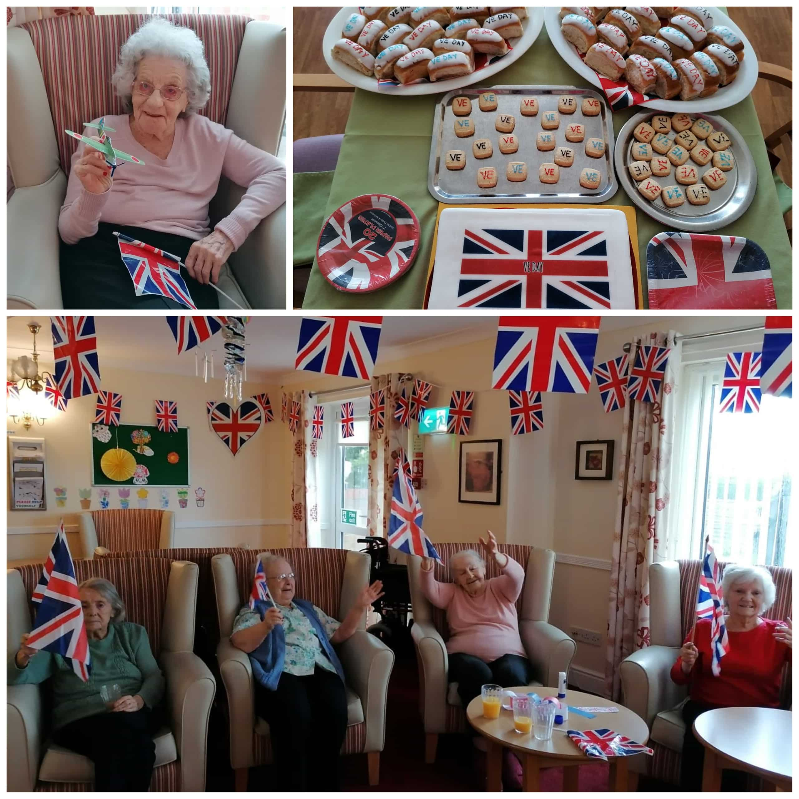 Residents at Atherton care home the Chanters celebrate VE Day with Union Jack bunting, cakes and toy gliders.