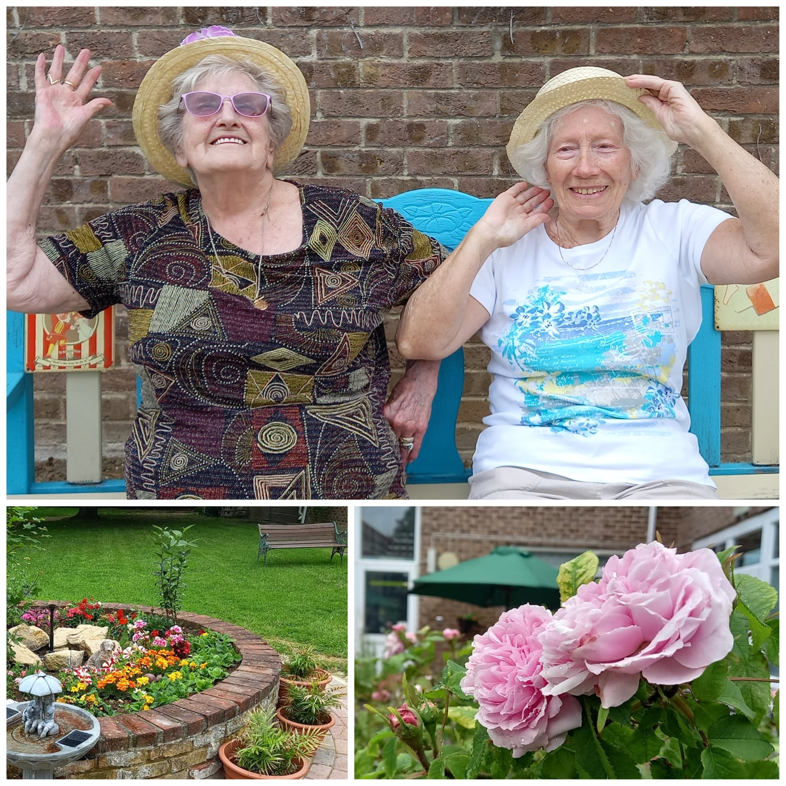 Basildon care home residents 80-year-old Joyce Roberts and 85-year-old Eileen Knock in their straw hats in the Mundy House garden.