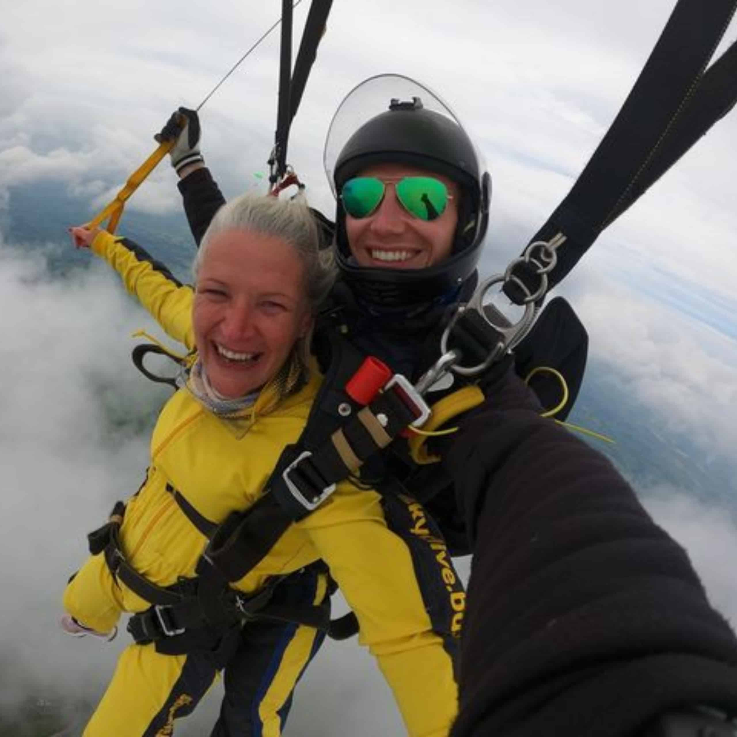 Cheryl Clavey, daughter of a resident of Taunton care home Oake Meadows taking on her skydive challenge to raised funds for the home.