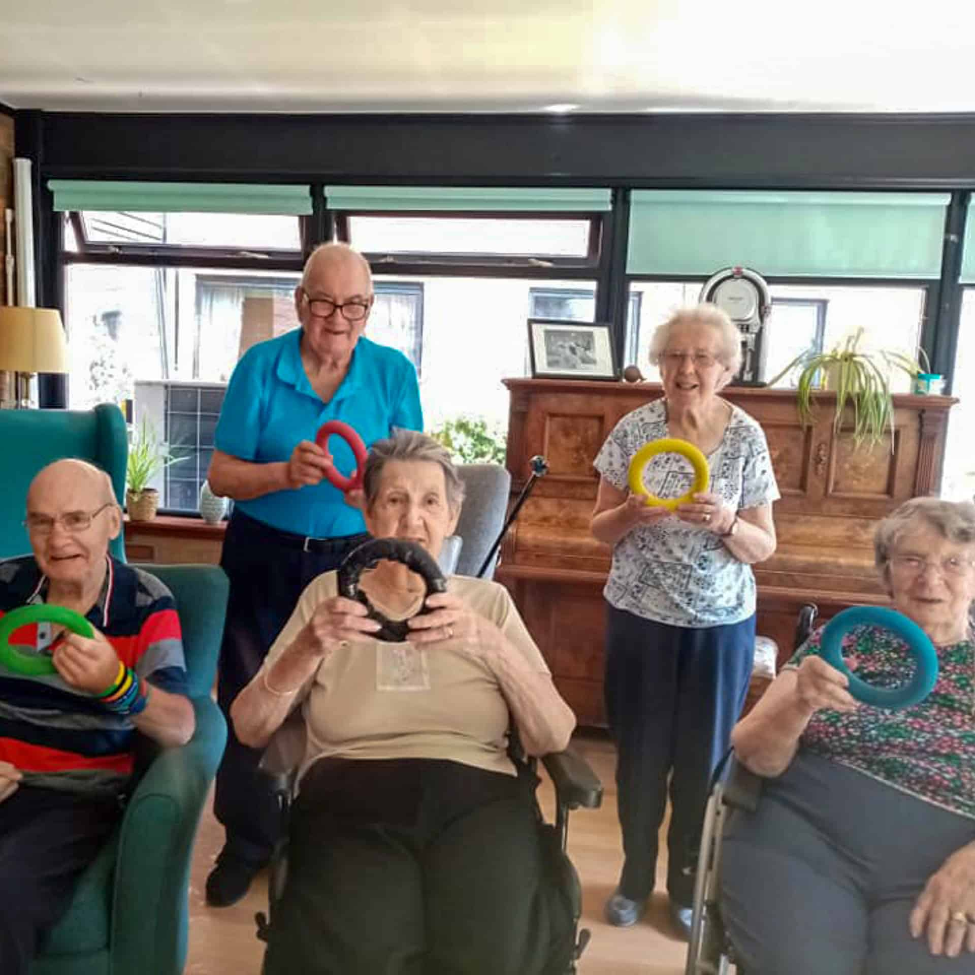 Residents of East Renfrewshire care home Eastwood Court ready for their 'Eastwood Games'.